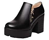 AalarDom Femme Couleur Unie PU Cuir à Talon Haut Rond Zip Chaussures Légeres