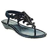 AARZ LONDON Femmes Dames Cristal Diamante Décontractée Confort Slingback Talon Bas Compensé Poids Léger des Sandales Chaussures Taille
