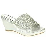 AARZ LONDON Femmes Dames Cristal Diamante Soir Mariage Fête Promo de Mariée Glisser Sur Talon Compensé des Sandales Chaussures Taille