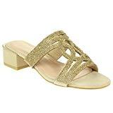 AARZ LONDON Femmes Dames Cristal Soir Mariage Fête Bal de Promo de Mariée Confort Enfiler Sandales à Talons Bas Chaussures ...