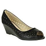 AARZ LONDON Femmes Dames Décontractée Confort Peeptoe Intelligent Bureau de Travail Enfilr Sandales à Talons Compensés Chaussures Taille