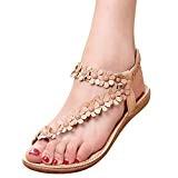 Amlaiworld Sandales Femmes Mode Été Bohème Sandales Sandales Perlées Sucrées Clips Sandales Toe Chaussures de Plage Sandales à Chevrons Chaussures