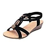 Amlaiworld Sandales Femmes, Sandales Casual Peep-Toe Chaussures à Boucle Plate Sandales d'été Romaines