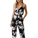 Beikoard - Robes Femmes Bodysuit Jumpsuit Combinaisons,Femmes Combinaison sans Manches Col V Imprimé Floral Combishort Pantalon