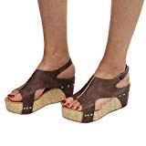 Chaussures Plates Compensées en Cuir,Overdose Été Espadrilles Femme Talon Haute Peep Toes High Heels Avec Boucles