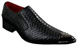 Chaussures Western Homme à Bouts Pointus en Métal Cuir Noir Style Crocodile