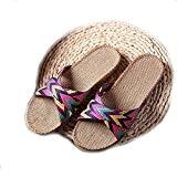 EULAGPRE Chaussons de lin Chaussures de sol Pantoufles à la Sueur Silencieuse Croisée Sandales Femmes d'été