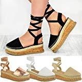Fashion Thirsty Sandales à Plateforme/Semelle Compensée Plate - Bride/Lacets - Été - Femme