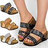 Fashion Thirsty Sandales Basses Compensées - pour Femme - Strass Brillants - Vacances