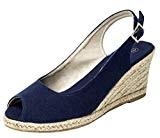 femmes bride arrière Espadrille Haut semelle compensée peeptoe sandales été chaussures - E39