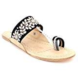 Femmes Dames Cuir Authentique Kolhapuri Chappal Toe-Post Décontractée Confort Glisser sur Sandales Plates Chaussures Taille