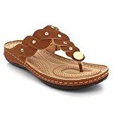 Femmes Dames Rembourré Toe-Post Décontractée Confort Talon compensé Moyen Poids Léger Plat Glisser sur Sandales Chaussures Taille