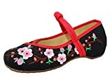 Icegrey Mary Janes Femme Fait Main Broderie Fleur De Prune Ballerine Plat Chaussures Noir 37