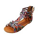 JIANGfu Femme Sandales Été Chaussures Plat Mode Bohème Sandales de Style Ethnique Sandales Plates Chaussures Boucle Rome Pantoufles