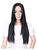LILICAT-Articles ménagers LILICAT Femmes Mode Lady Longue Droite Neat Moyen Partie Cheveux Cosplay Parti Perruque cosplay Belle Vintage Noir long ...