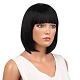 ❤️LILICAT Femmes Court Droite Full Bangs Bob Coiffure Synthétique Cheveux Perruque Complète Mode Belle cosplay perruque Noir étudiant perruque