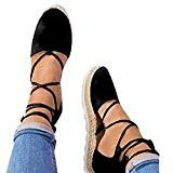 LUCKYCAT Prime Day Amazon, Sandales d'été Femme Chaussures de Été Sandales à Talons Chaussures Plates Chaussures de Toile Pointu Bandages ...