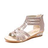 LUCKYCAT Prime Day Amazon, Sandales d'été Femme Chaussures de Été Sandales à Talons Chaussures Plates Sandales Wedge Mode Bouche de ...