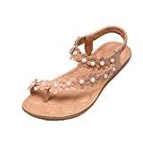 LUCKYCAT Prime Day Amazon, Sandales d'été Femme Chaussures de Été Sandales à Talons Chaussures Plates Bohème Perles de Fleur Chaussures ...