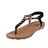 LUCKYCAT Prime Day Amazon, Sandales d'été Femme Chaussures de Été Sandales à Talons Chaussures Plates Bohême Crystal Fond épais Bande ...