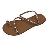 LUCKYCAT Prime Day Amazon, Sandales d'été Femme Chaussures de Été Sandales à Talons Chaussures Plates Bandages Gladiateur Talon Plat Bas ...