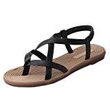 LUCKYCAT Prime Day Amazon, Sandales d'été Femme Chaussures de Été Sandales à Talons Chaussures Plates Casual Sandales Bout Ouvert Chaussures ...