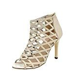LUCKYCAT Prime Day Amazon, Sandales d'été Femme Chaussures de Été Sandales à Talons Chaussures Plates Peep Orteils Talons Hauts Rivets ...