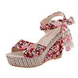 LUCKYCAT Prime Day Amazon, Sandales d'été Femme Chaussures de Été Sandales à Talons Chaussures Plates Impression Florale Peep Orteils Dentelle ...