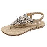 LUCKYCAT Prime Day Amazon, Sandales d'été Femme Chaussures de Été Sandales à Talons Chaussures Plates Décoration Perlée Bohème Peep Orteils ...
