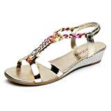 LUCKYCAT Prime Day Amazon, Sandales d'été Femme Chaussures de Été Sandales à Talons Sandales Plates Diamant de Mode Casual Sandales ...