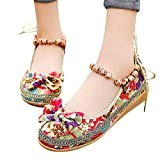 LUCKYCAT Sandales d'été Femme, Prime Day Amazon Chaussures de Été Sandales à Talons Chaussures Plates Chaussures Brodées Nœud Papillon Style ...