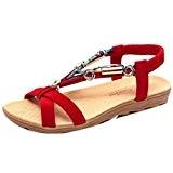 LuckyGirls Sandales D'été pour Femmes, Peep-Toe Romaine Sandales Mode Chaussures Plates pour Dames