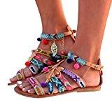 ✿luoluoluo✿ Sandales Pompon Femme, Femmes Bohème Sandales en Cuir Gladiateurs Sandales Plates Chaussures Pom-Pom Sandales
