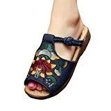 MISSMAO Chaussons Chic Style Chaussures d'été Broderie Chinoise Chaussons Bout Ouvert pour Femme Filles