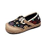 MISSMAO Femme 50's Vintage Chaussures Plates Mary Jane Fleuri de Bout Rond Confortable