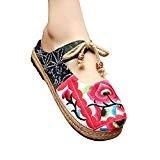 MISSMAO Femme Ballerines Chinois Style Chaussures d'été de Lacets Mary Jane Fleuris
