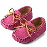Mocassins Fille Garcon Chaussures de Marche Bébé Enfants Chaussons Cuir Suede pour Printemps Été,Rose 27