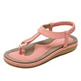mogeek Femmes Filles Été des Bohême Sandales Ladies Été Chaussures Plates Confortables