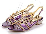 NVLXIE Sandales de Dames Pierres Précieuses d'été Banquettes de Diamants Plateau Plat Banquet Beach Daily Formal Purple 3cm