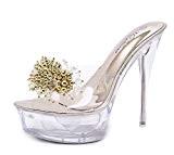 Onfly New Femmes Sandales D'été Nouveau Cristal Transparent Chaussures À Talons Haut Verre Strass Pantoufles Flip Flops Dames Filles 14 ...