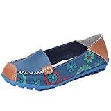 OverDose Mocassins en Cuir, Été Femme Chaussures Plates Casual Ballerines Slip on Loafers Flats
