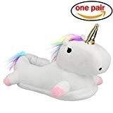 Pantoufles 3D Unicorn pour Les Filles et Les Femmes Pantoufles moelleuses antidérapantes en Peluche - One Size (EUR35-42)