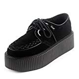 RoseG Femmes Cuir Lacets Plate Forme Punk Creepers