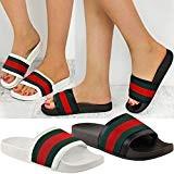 Sandales à Enfiler - pour Femme - Style Mules/Claquettes - Rayées/Plates - Été