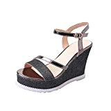Sandales Compensées à Plateforme,Overdose Été Espadrilles Métallisées Paillettes Femme Chaussures Talon Haute Peep Toes High Heels