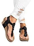 Sandales Compensées Femme Plateforme Cuir Bout Ouvert Bohême Romaines Espadrilles Chic Flip Flop Plage Legere Été Dames Chaussure Noir Beige ...