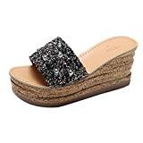 LUCKYCAT Sandales pour Femme Chaussures de /Ét/é Sandales /à Talons /À la Mode Casual Sandales /à la Bouche Pantoufles /à Semelles /épaisses Blanc Noir Simple 2018