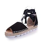 Sandales Femme Plateforme Été Plate Cuir Bout Ouvert Chic Plage Bohême Espadrilles Gladiateur Legere Dames Chaussure Noir Beige Marron 35-44