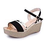 Sandales Plateformes Femmes Sonnena Été Muffin Plate-Forme Simples Shook Chaussures Filles Compensés 7cm Or/Noir 35-40
