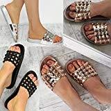 Sandales Plates à Clous/Strass - à Enfiler/Bout Ouvert - Confortable - Femme